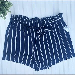 Striped Navy belted paper bag waisted shorts 3X